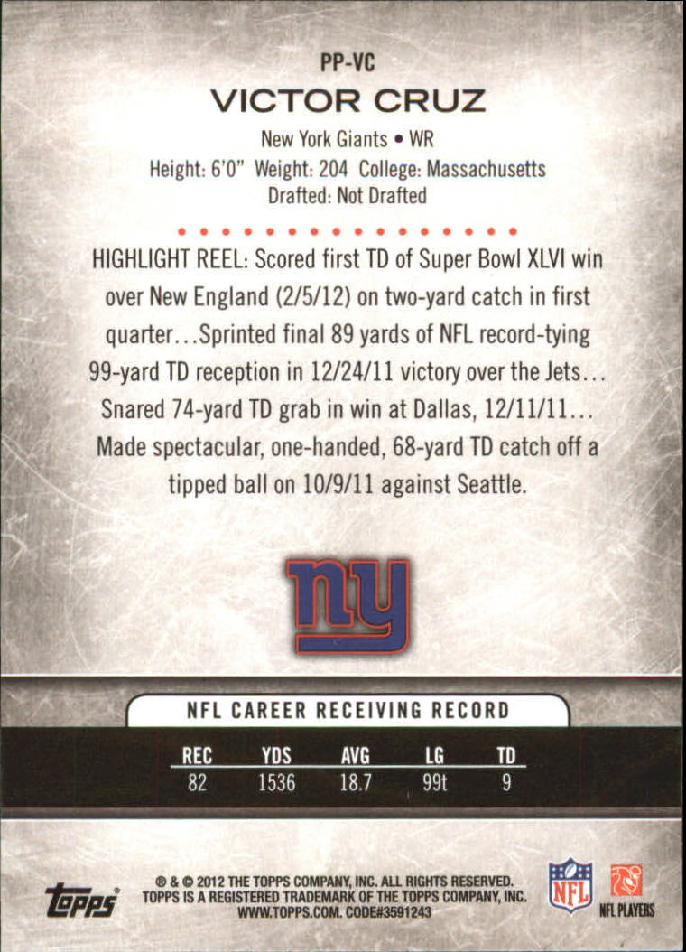 2012 Topps Prolific Playmakers #PPVC Victor Cruz back image