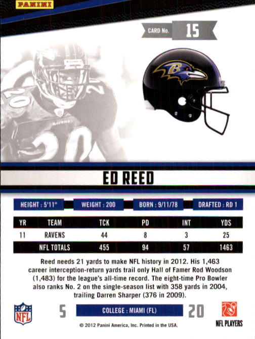 2012 Rookies and Stars #15 Ed Reed back image