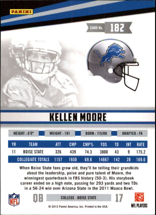 2012 Rookies and Stars #182 Kellen Moore RC back image