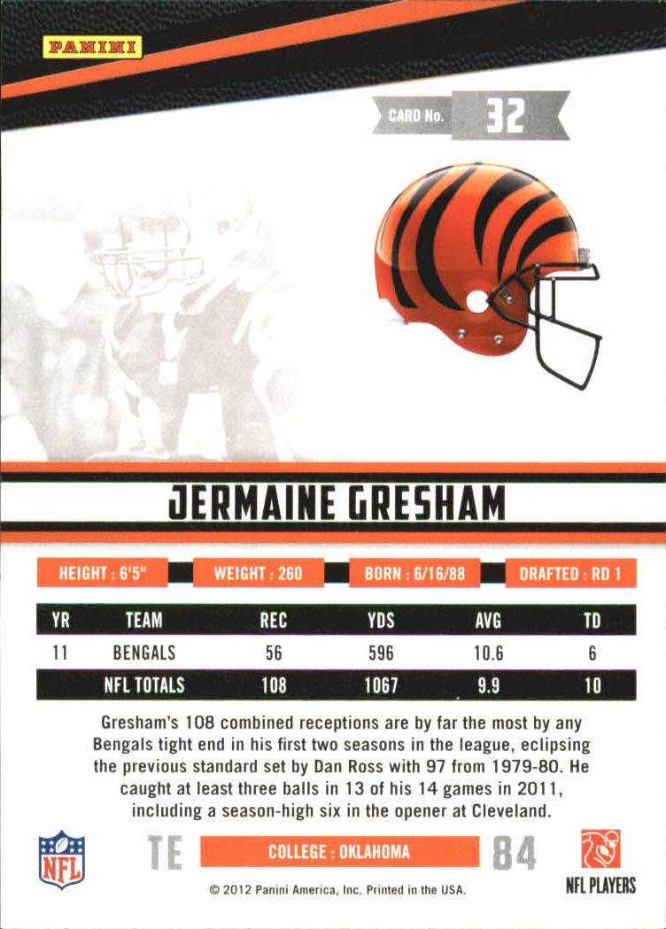 2012 Rookies and Stars True Blue #32 Jermaine Gresham back image