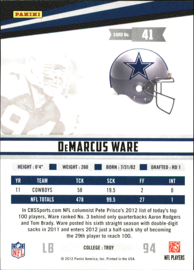 2012 Rookies and Stars True Blue #41 DeMarcus Ware back image