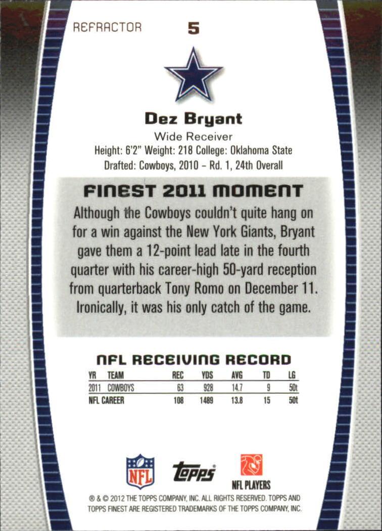 2012 Finest Refractors #5 Dez Bryant back image