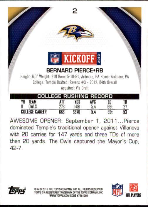 2012 Topps Kickoff #2 Bernard Pierce back image