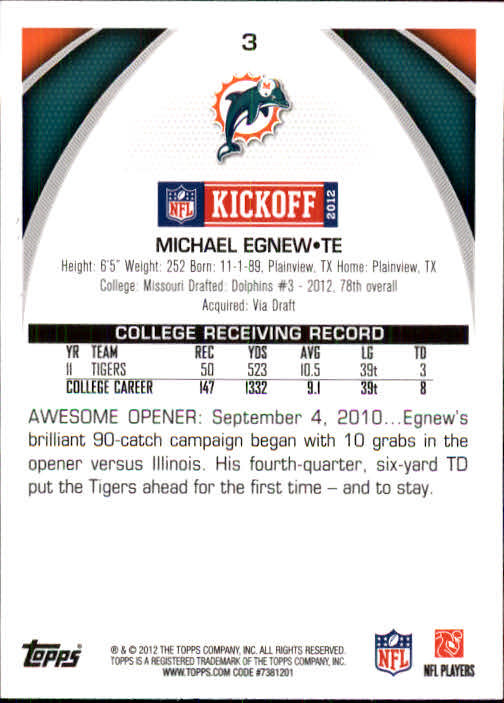 2012 Topps Kickoff #3 Michael Egnew back image