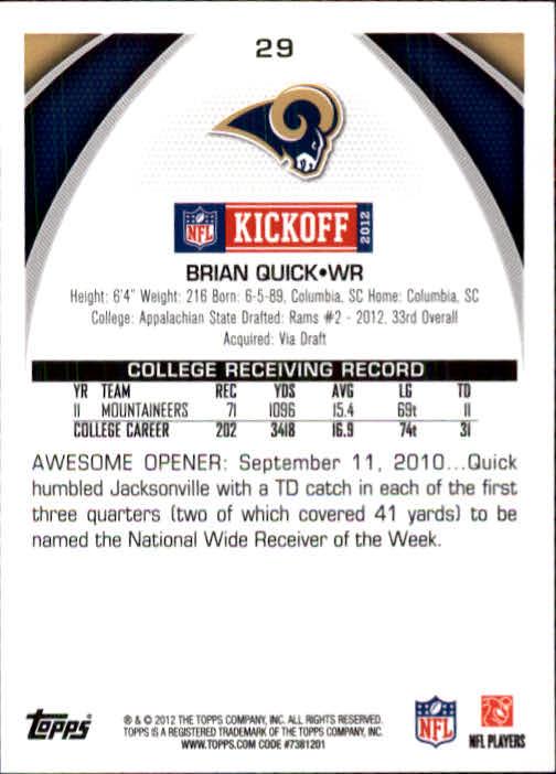 2012 Topps Kickoff #29 Brian Quick back image