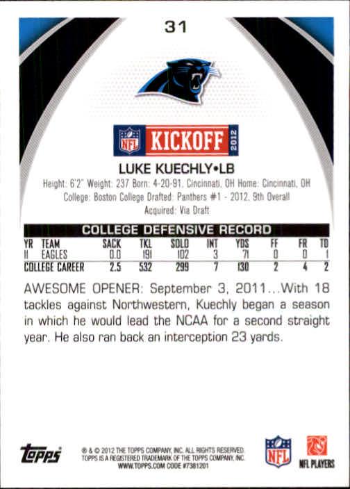 2012 Topps Kickoff #31 Luke Kuechly back image