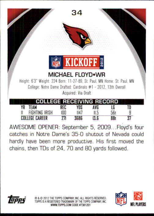 2012 Topps Kickoff #34 Michael Floyd back image