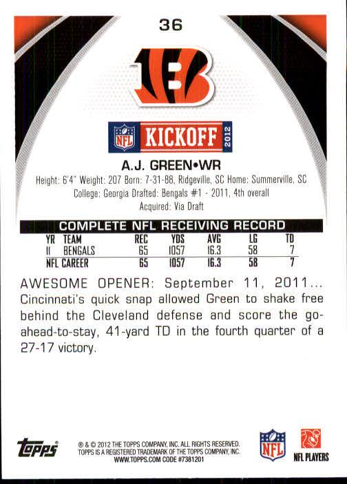 2012 Topps Kickoff #36 A.J. Green back image