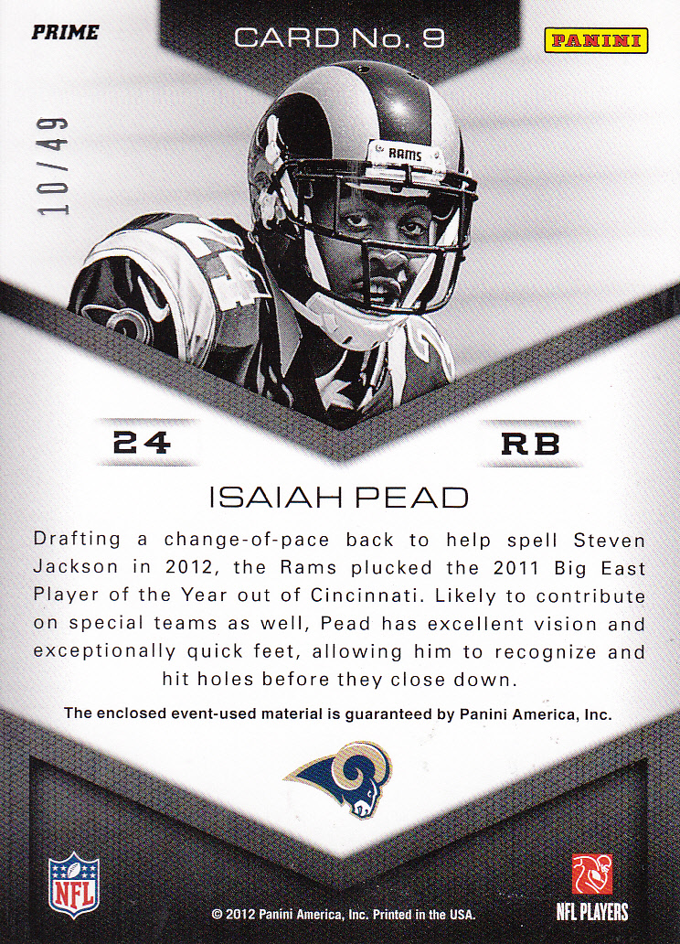 2012 Momentum Head of the Class Materials Prime #9 Isaiah Pead back image