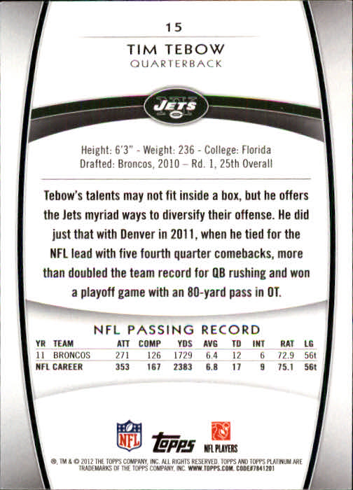 2012-Topps-Platinum-Football-1-149-Your-Choice-GOTBASEBALLCARDS thumbnail 31