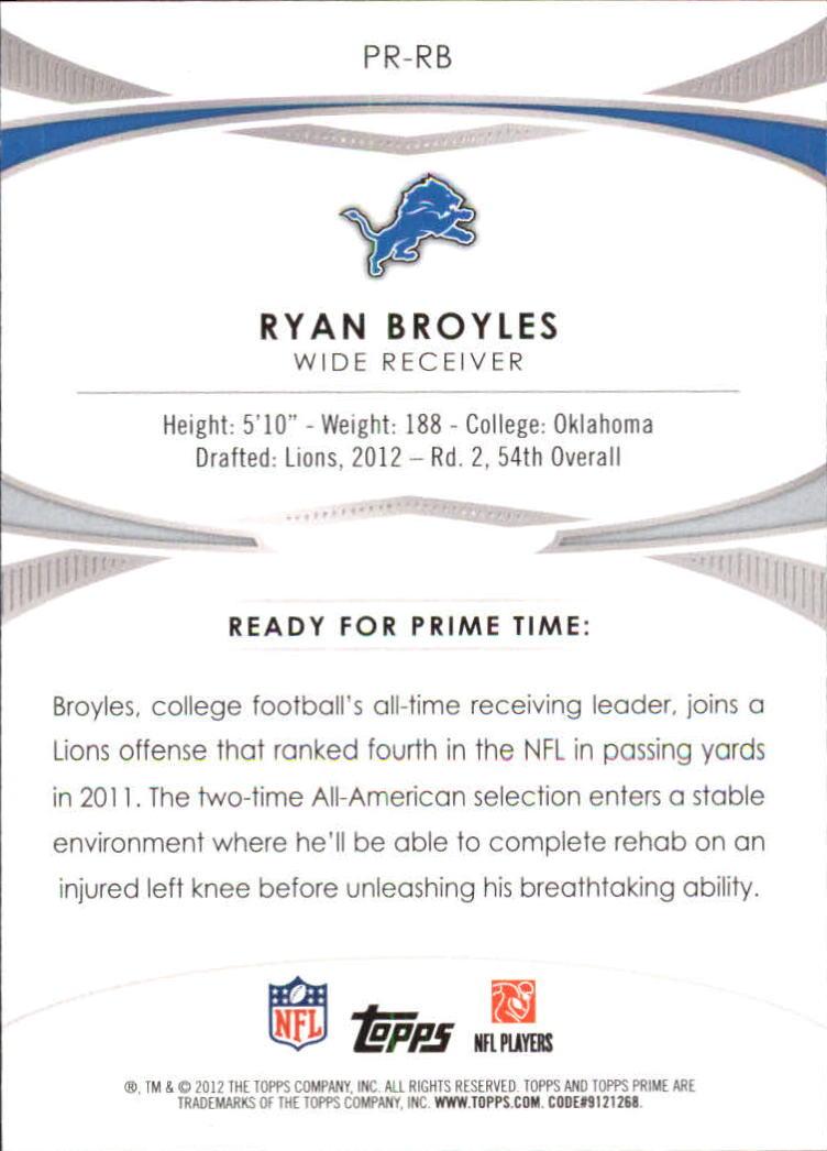 2012 Topps Prime Primed Rookies #PRRB Ryan Broyles back image