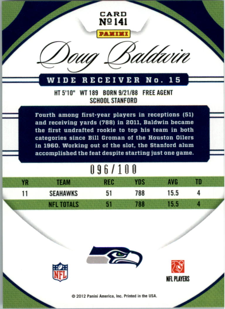 2012 Certified Mirror Blue #141 Doug Baldwin back image