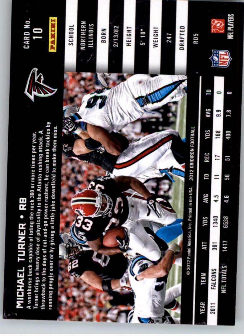 2012 Gridiron #10 Michael Turner back image