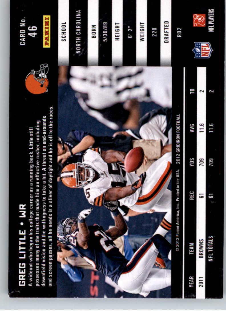 2012 Gridiron #46 Greg Little back image
