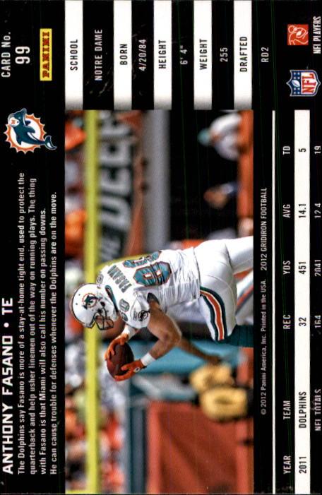 2012 Gridiron #99 Anthony Fasano back image