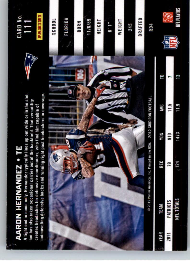 2012 Gridiron #111 Aaron Hernandez back image