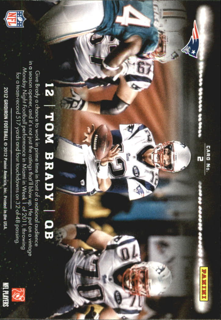 2012 Gridiron Monday Night Heroes #2 Tom Brady back image