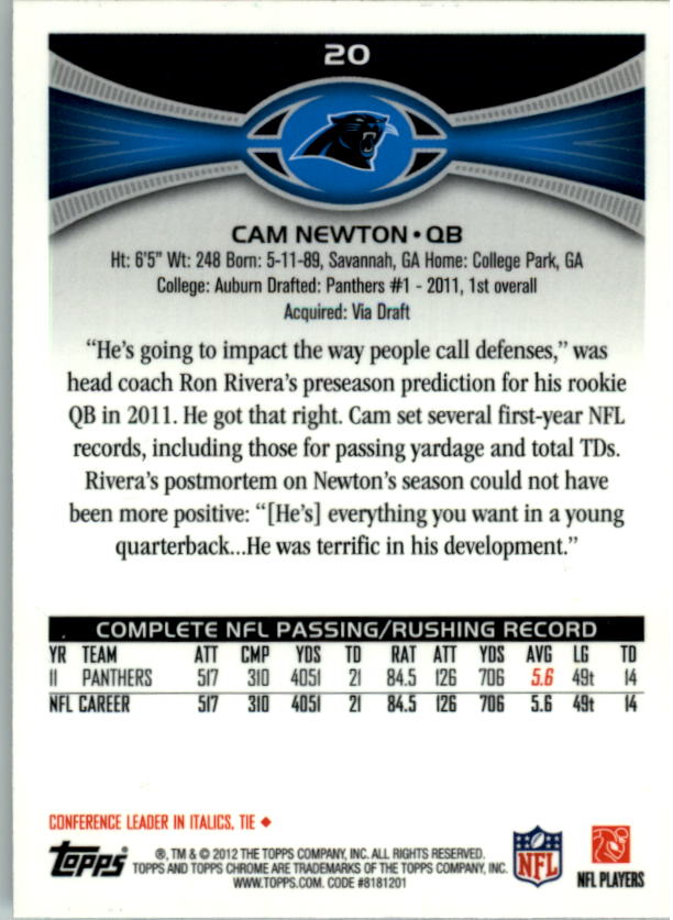 2012 Topps Chrome #20 Cam Newton back image