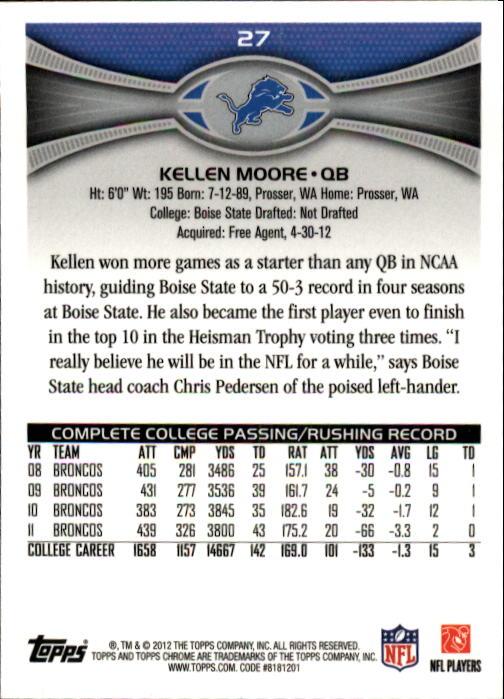 2012 Topps Chrome #27 Kellen Moore RC back image