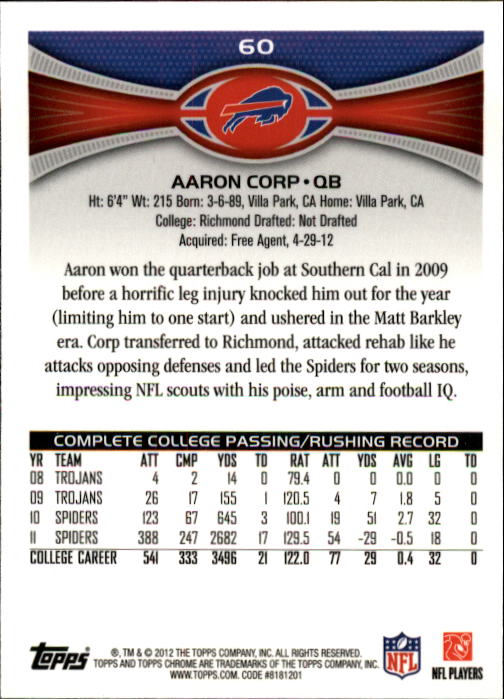 2012 Topps Chrome #60 Aaron Corp RC back image
