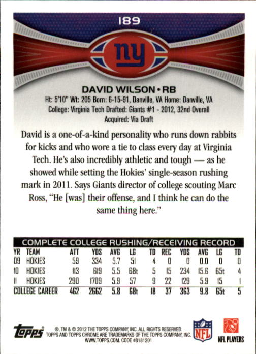 2012 Topps Chrome #189A David Wilson RC/ball in left hand back image