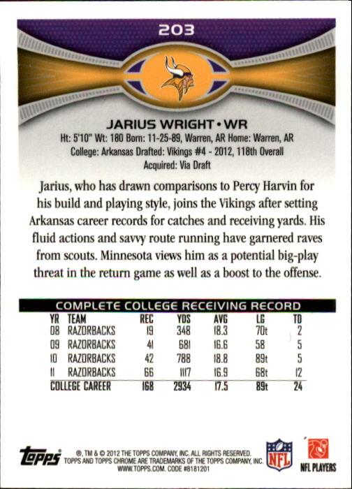 2012 Topps Chrome #203 Jarius Wright RC back image