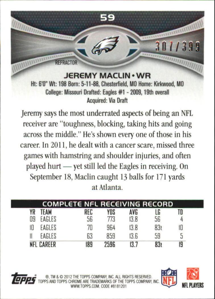 2012 Topps Chrome Pink Refractors #59 Jeremy Maclin back image