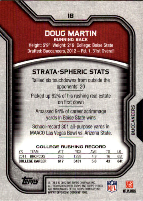 2012 Topps Strata #18 Doug Martin RC back image
