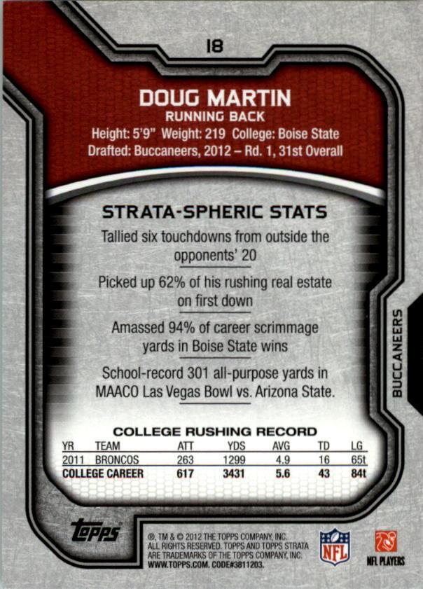 2012 Topps Strata Retail #18 Doug Martin RC back image