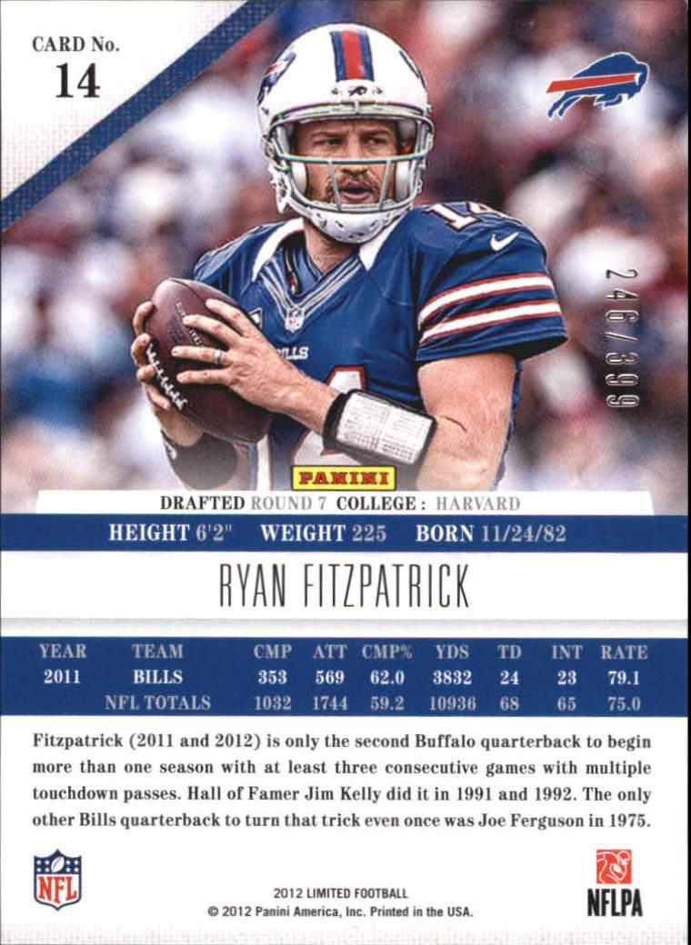 2012 Limited #14 Ryan Fitzpatrick back image