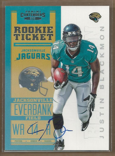 2012 Panini Contenders #205A Justin Blackmon AU/550* RC/(left arm at knee)