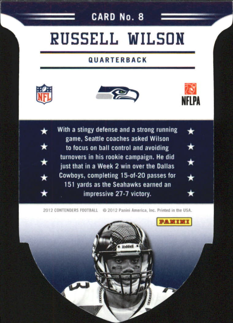 2012 Panini Contenders ROY Contenders #8 Russell Wilson back image