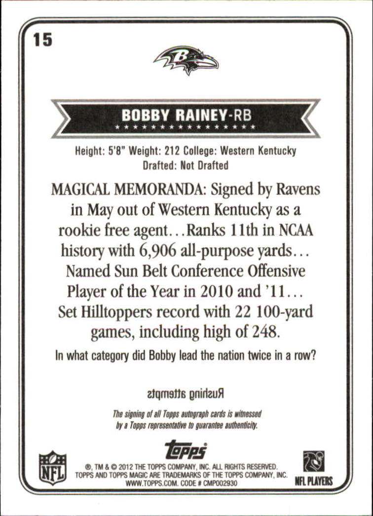 2012 Topps Magic Autographs #15 Bobby Rainey back image