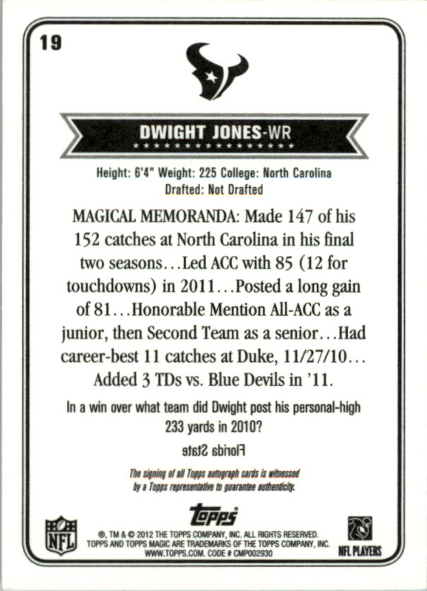 2012 Topps Magic Autographs #19 Dwight Jones back image