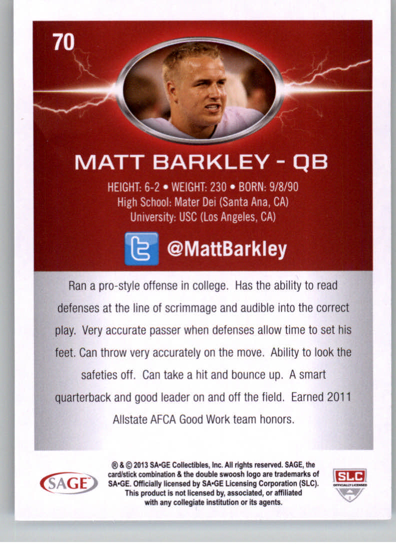 2013 SAGE HIT #70 Matt Barkley NL back image