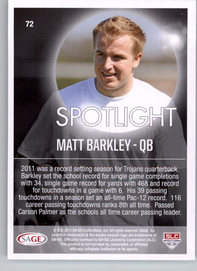 2013 SAGE HIT #72 Matt Barkley SL back image