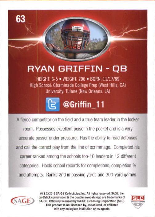 2013 SAGE HIT Silver #63 Ryan Griffin NL back image