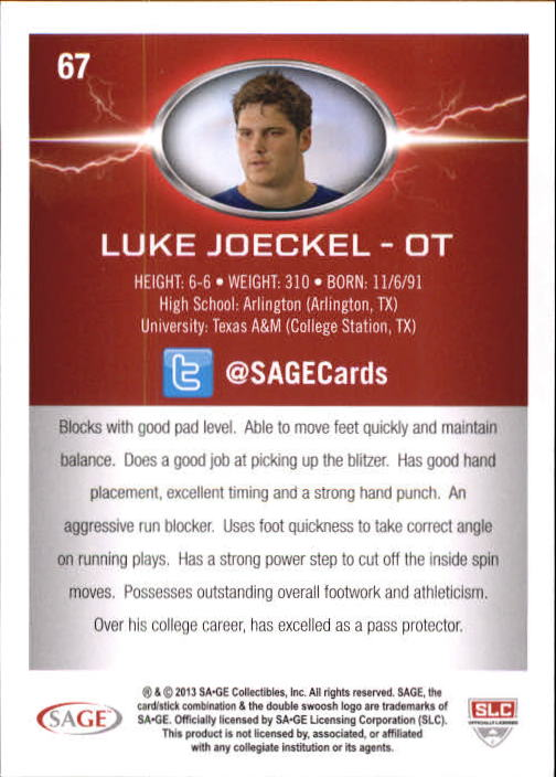 2013 SAGE HIT Silver #67 Luke Joeckel NL back image