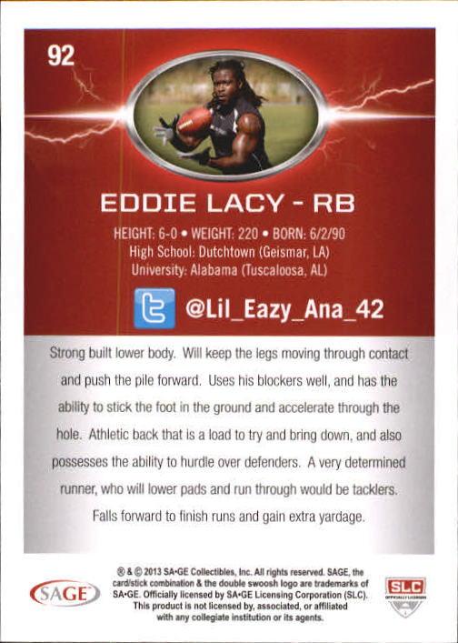 2013 SAGE HIT Silver #92 Eddie Lacy NL back image