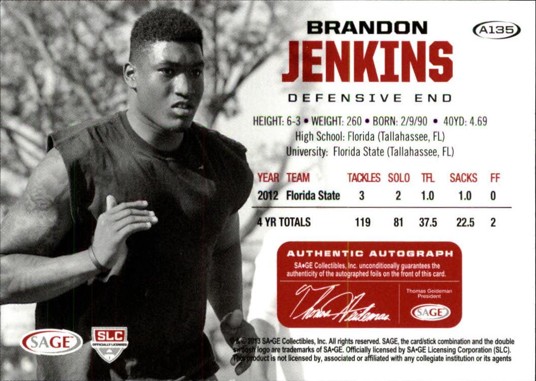2013 SAGE HIT Autographs Gold #A135 Brandon Jenkins back image
