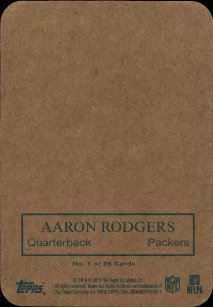 2013 Topps Archives 1970 Glossy #1 Aaron Rodgers back image