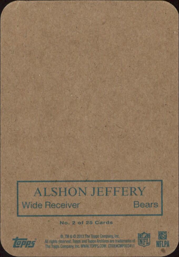 2013 Topps Archives 1970 Glossy #2 Alshon Jeffery back image