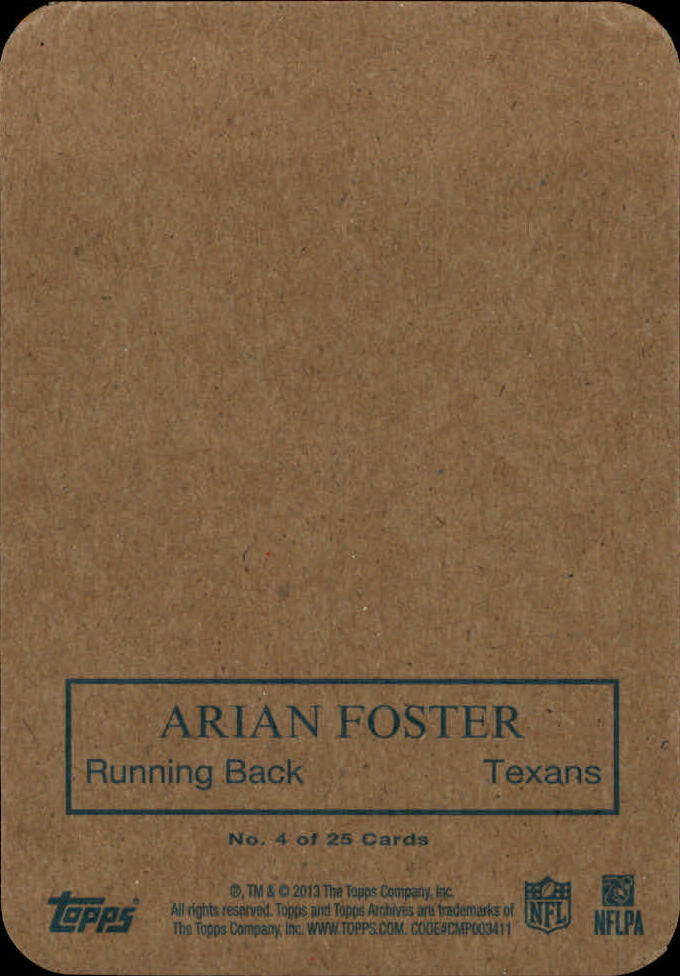 2013 Topps Archives 1970 Glossy #4 Arian Foster back image