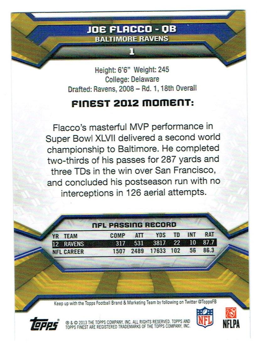 2013 Finest #1 Joe Flacco back image