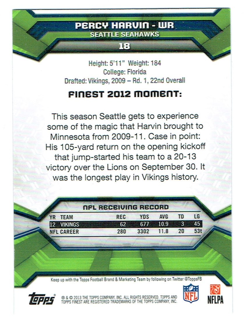 2013 Finest #18 Percy Harvin back image