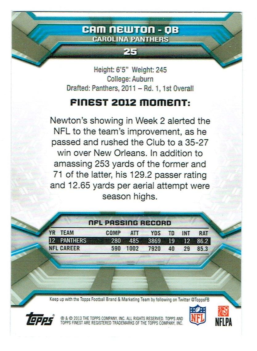 2013 Finest #25 Cam Newton back image