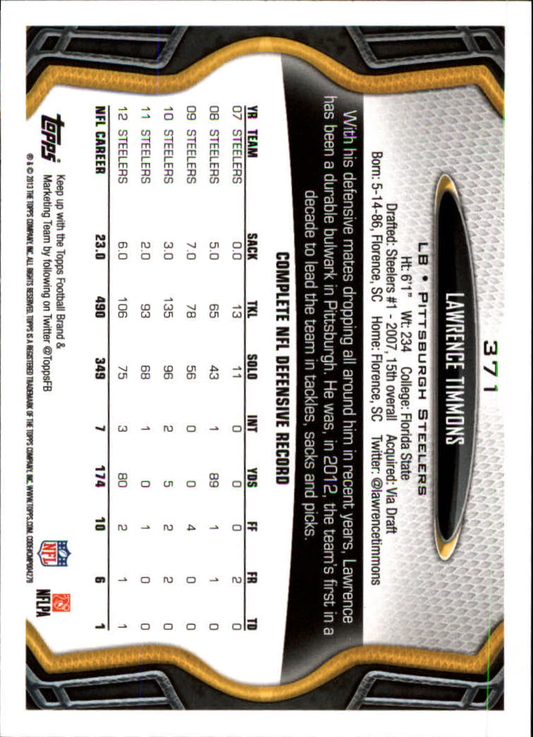 2013 Topps #371 Lawrence Timmons back image