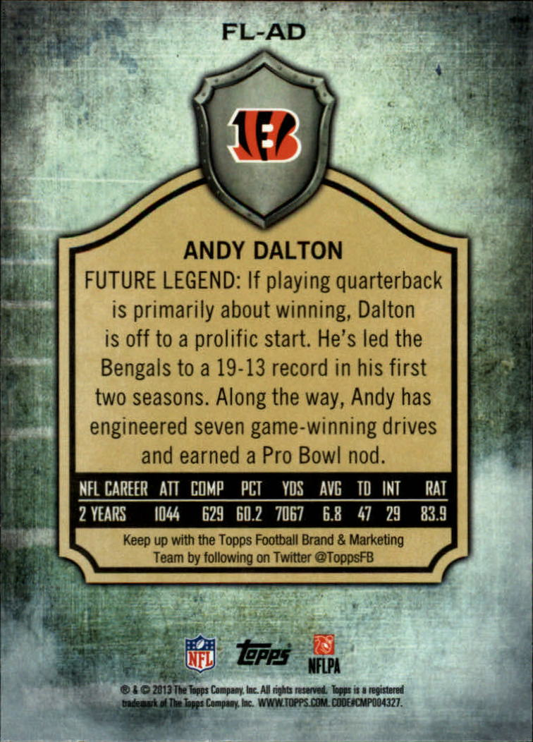 2013 Topps Future Legends #FLAD Andy Dalton back image