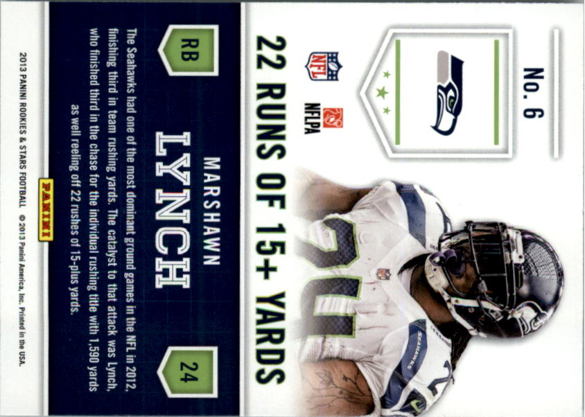 2013 Rookies and Stars Statistical Standouts #6 Marshawn Lynch back image