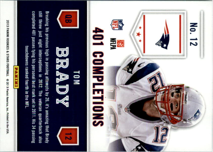 2013 Rookies and Stars Statistical Standouts #12 Tom Brady back image